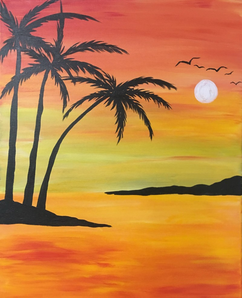 IN STUDIO: Sunset Palm - 16x20 Acrylic on Canvas