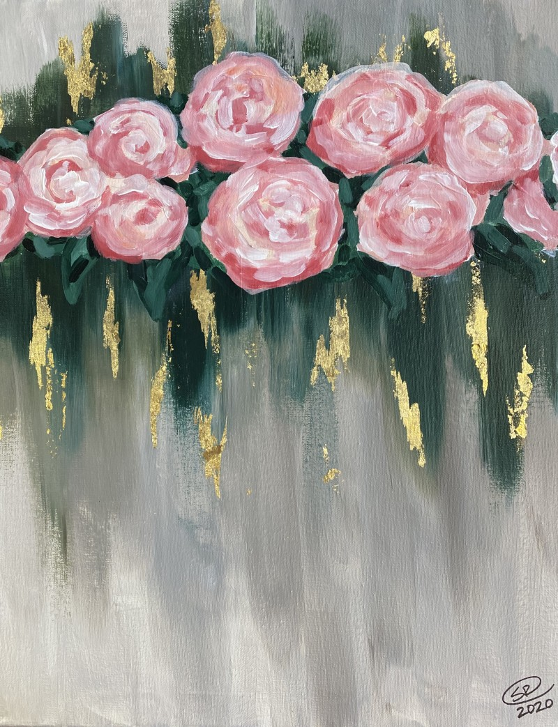 NEW GOLD LEAF Class: Abstract Flowers - In Studio Class