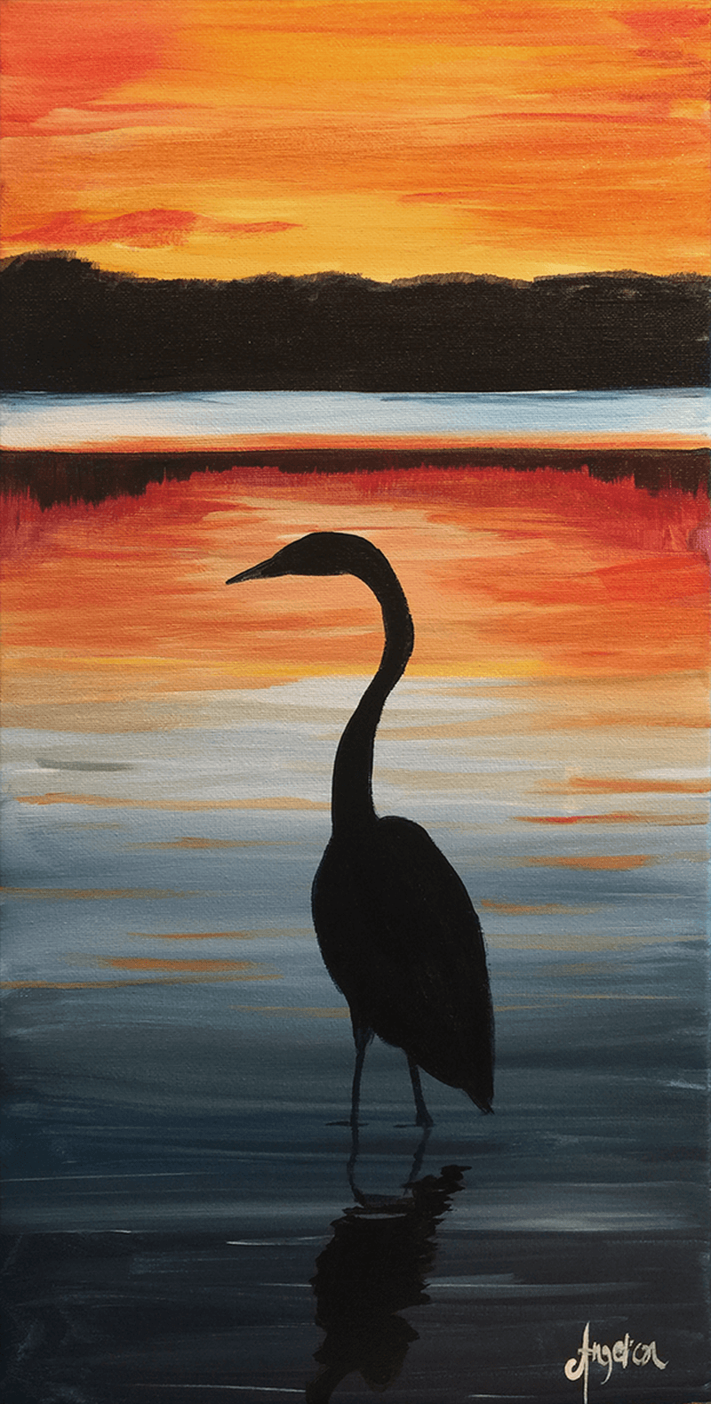 Crane Sunset - ZOOM Virtual Class with Take-Home Kit!