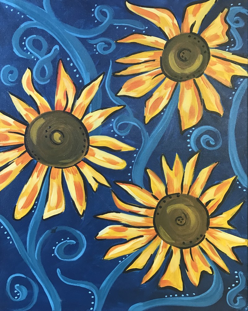 """LIVE VIRTUAL CLASS """"SUNFLOWER TWIRLS"""" TONIGHT AT 8:00 PM. PICK UP YOUR SUPPLIES AND JOIN THE PAINT PARTY AT HOME ON ZOOM!"""