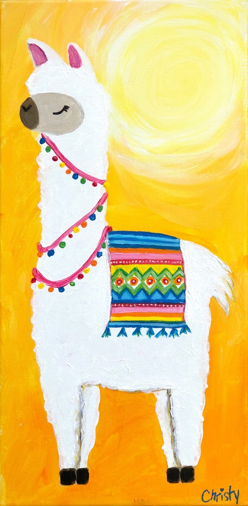 No Problem Llama- TAKE HOME PAINT KIT - - ORDER TODAY! CURB SIDE PICK UP TOMORROW 2PM-5PM!