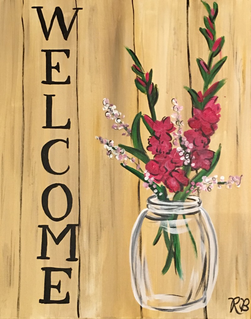 """Welcome Canvas (on 10""""x 20"""" canvas) Kit NO Brushes"""