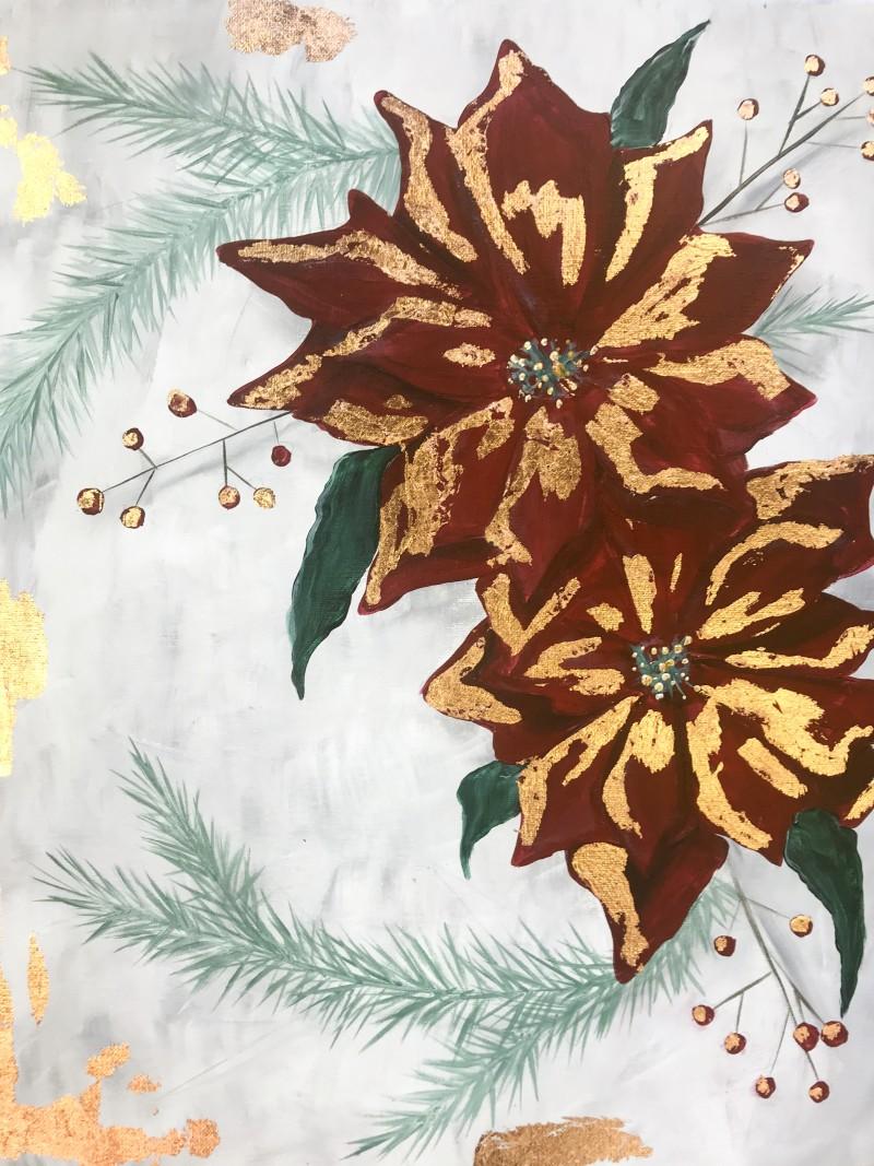 Rose Leaf Poinsettias - Virtual and In-Studio