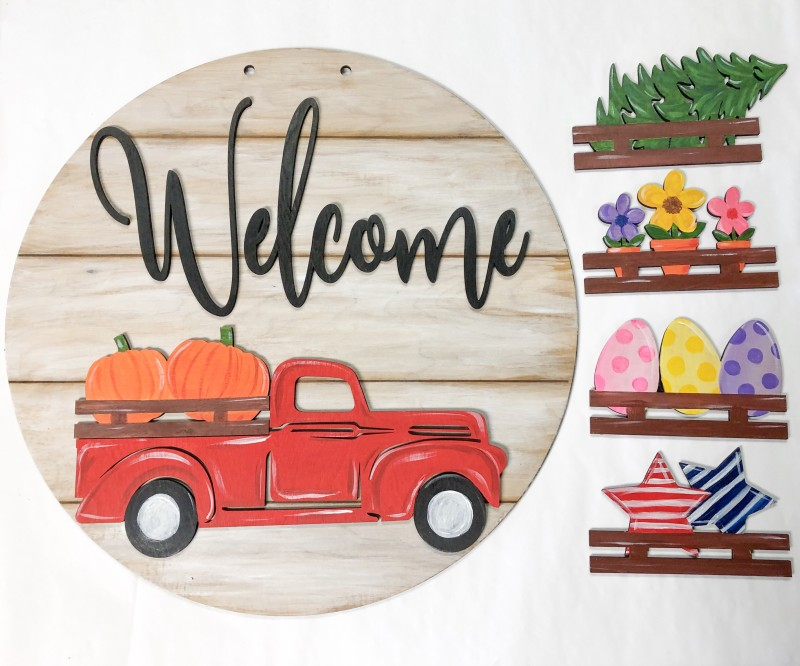 "22"" Interchangeable Welcome Red Truck Door Hanger with 5 Pieces"