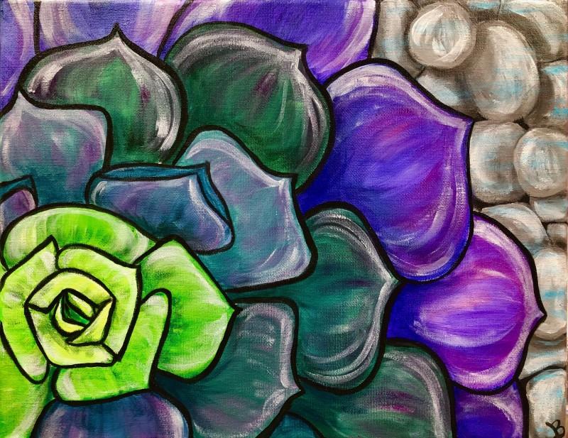 IN-STUDIO: Succulent 16x20 Acrylic on Canvas
