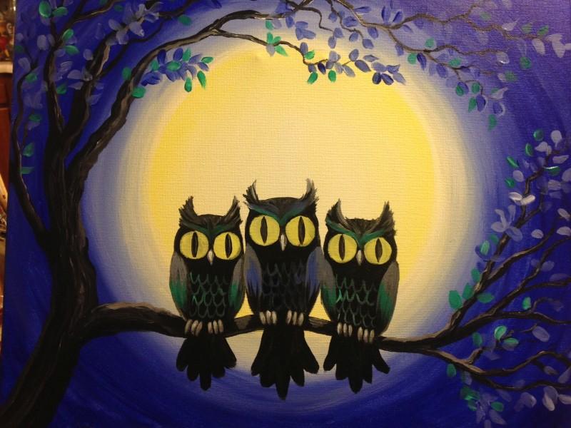 IN-STUDIO: Midnight Owls - 16x20 Acrylic on Canvas