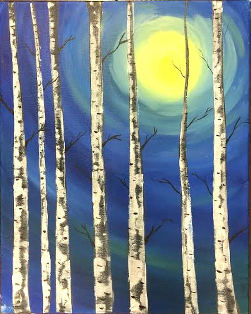 LIVE VIRTUAL CLASS: Moon Birches (PAINT KIT P/U Weds 4PM-6PM)