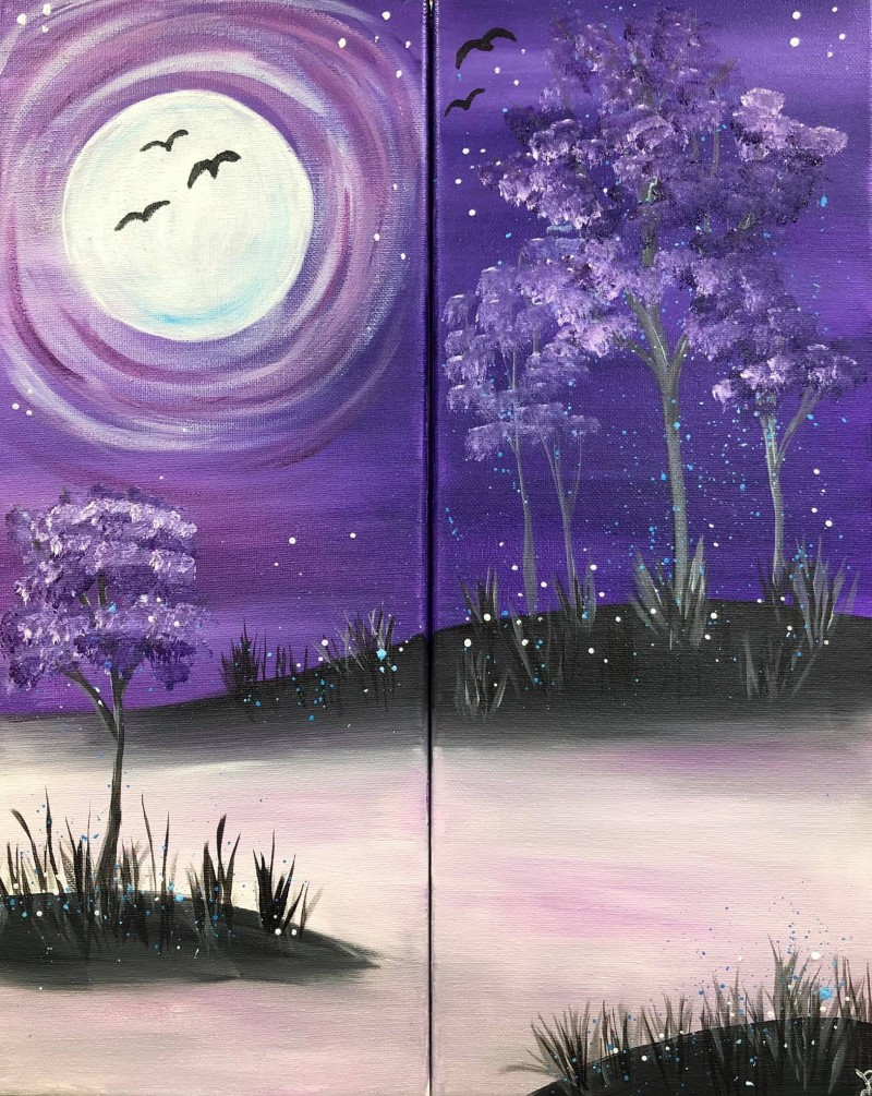 LIVE Virtual Class: Moonlight Purple Haze - Single Canvas or Two 10x20 Canvases