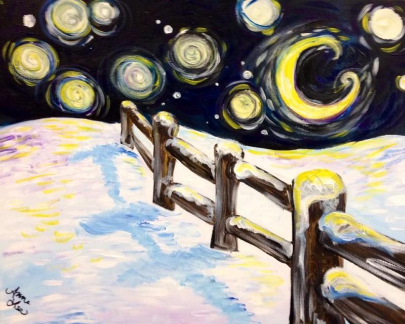 LIVE Virtual Class - Funky Moonlit Night - Acrylic on Canvas