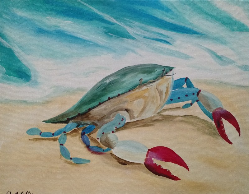 Virtual Party Blue Crab on the Beach