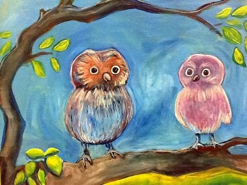 Perching Owlets- TAKE HOME PAINT KIT - - ORDER TODAY! CURB SIDE PICK UP TOMORROW 2PM-5PM!