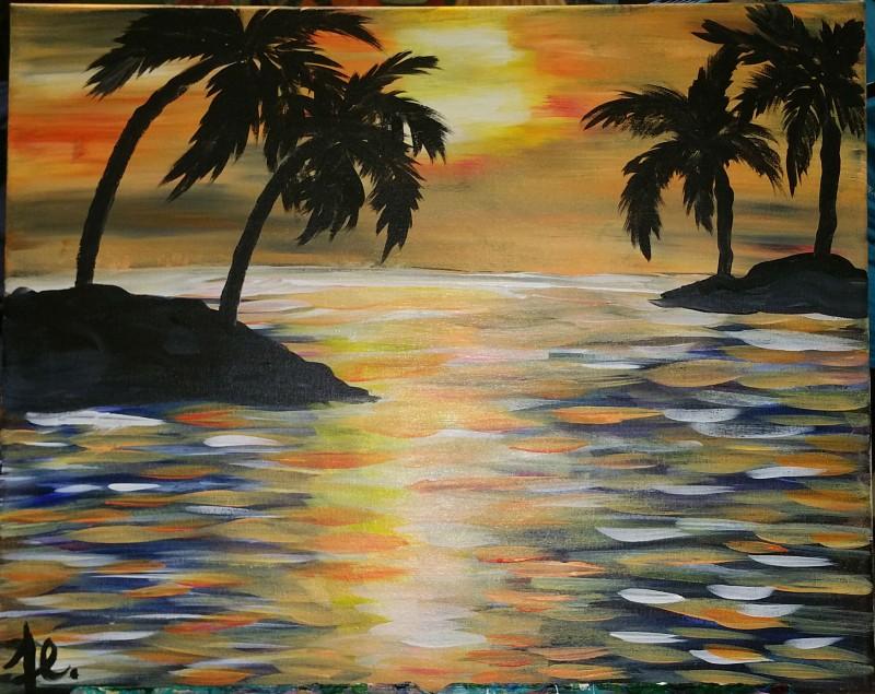 IN-STUDIO: Palm Island 16x20 Acrylic on Canvas