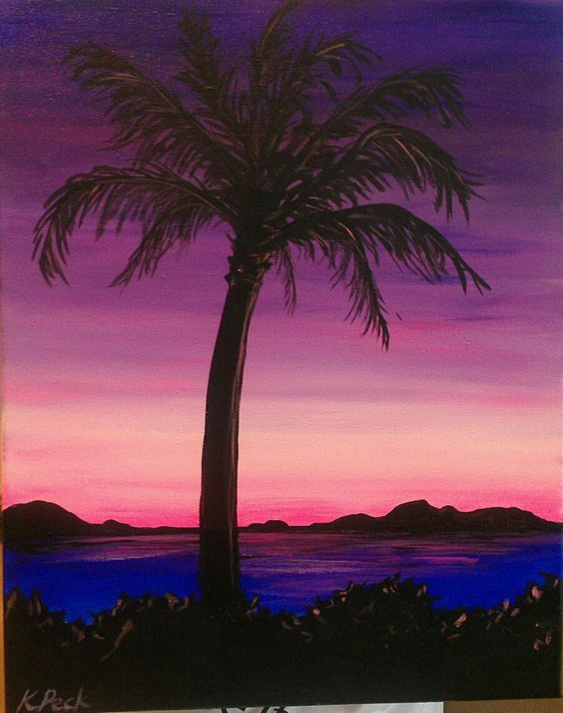 IN-STUDIO: Pink Palm Sunset 16x20 Acrylic on Canvas