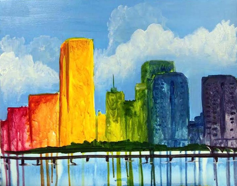 IN-STUDIO: Paint the Town Rainbow - 16x20 Acrylic on Canvas