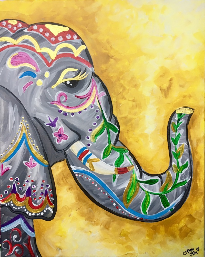"""LIVE VIRTUAL CLASS """"PUJI ELEPHANT"""" TONIGHT AT 7:00 PM. PICK UP YOUR SUPPLIES AND JOIN THE PAINT PARTY AT HOME ON ZOOM!"""