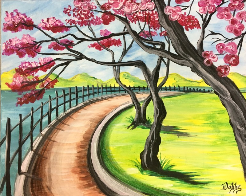 RIVER WALK | VIRTUAL PAINT CLASS WITH PAINT KIT | 7:30PM EST | PAINT KIT PICK UP 8/12 2PM-5PM