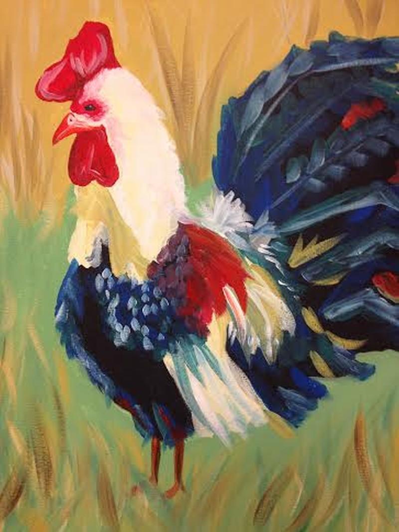 IN-STUDIO: Rooster in a Field - 16x20 Acrylic on Canvas - Chosen by Alyson & Friends!