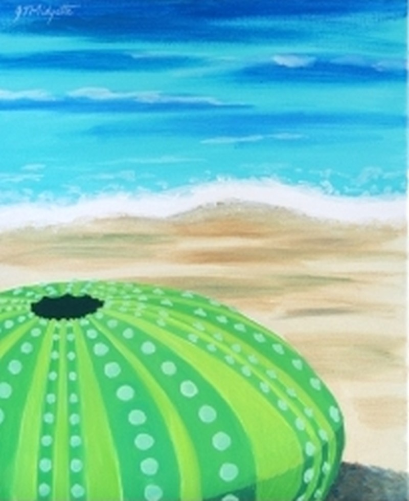 IN STUDIO: Sea Urchin 16x20 Acrylic on Canvas
