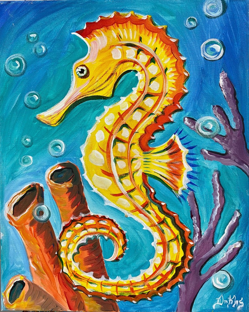 """VIRTUAL CLASS! """"Tropical Seahorse"""" Pick-Up Paint Kits between 4:00-6:00pm. Join us LIVE on Zoom at 7:00pm"""