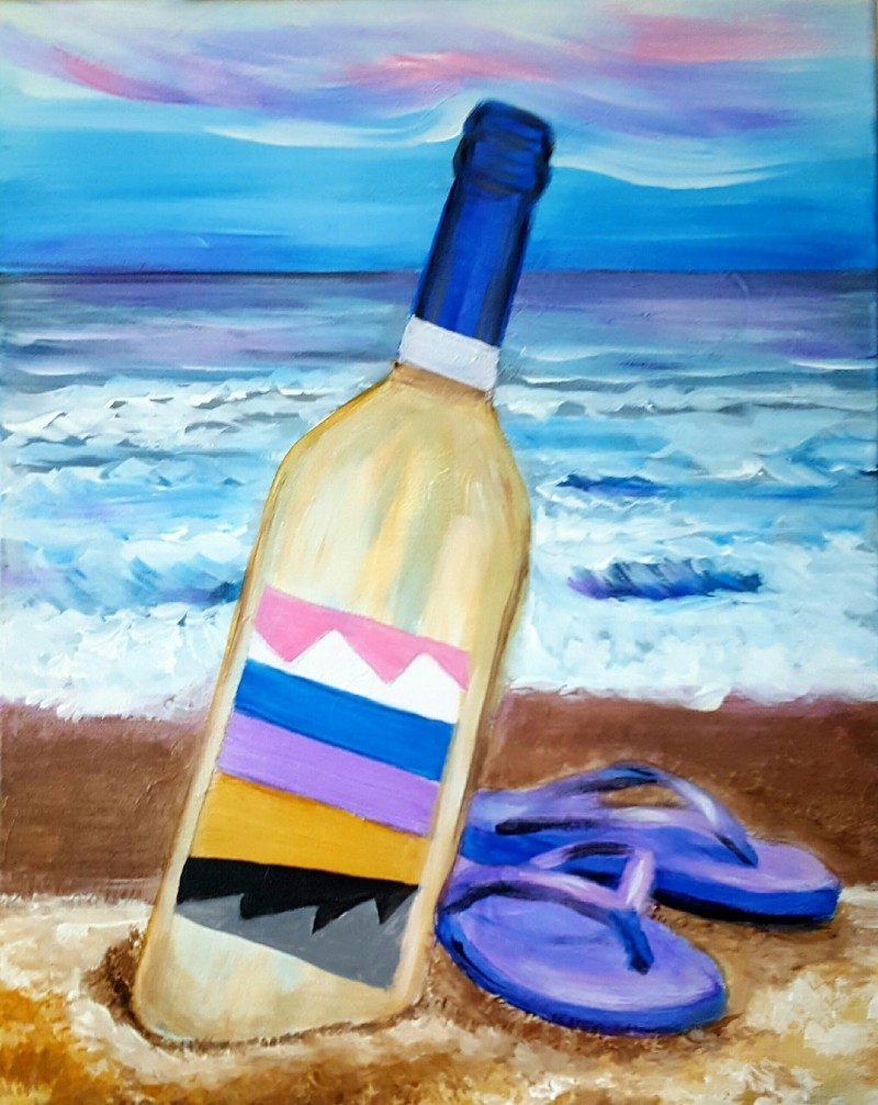 """LIVE VIRTUAL CLASS """"RELAXING AT THE BEACH"""" TONIGHT AT 7:30 PM. PICK UP YOUR SUPPLIES AND JOIN THE PAINT PARTY AT HOME ON ZOOM!"""