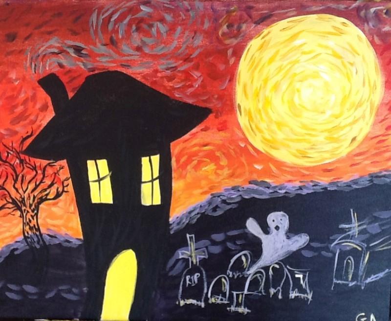 IN STUDIO CLASS-  SPOOKY STARRY NIGHT (ARTIST JENNIE)