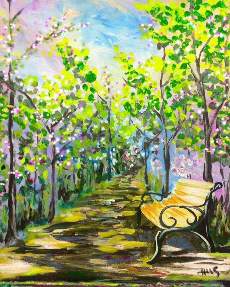IN-STUDIO: Spring Park 16x20 Acrylic on Canvas