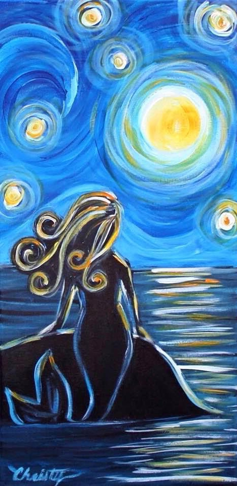 Starry Night Mermaid- TAKE HOME PAINT KIT - - ORDER TODAY! CURB SIDE PICK UP TOMORROW 2PM-5PM!