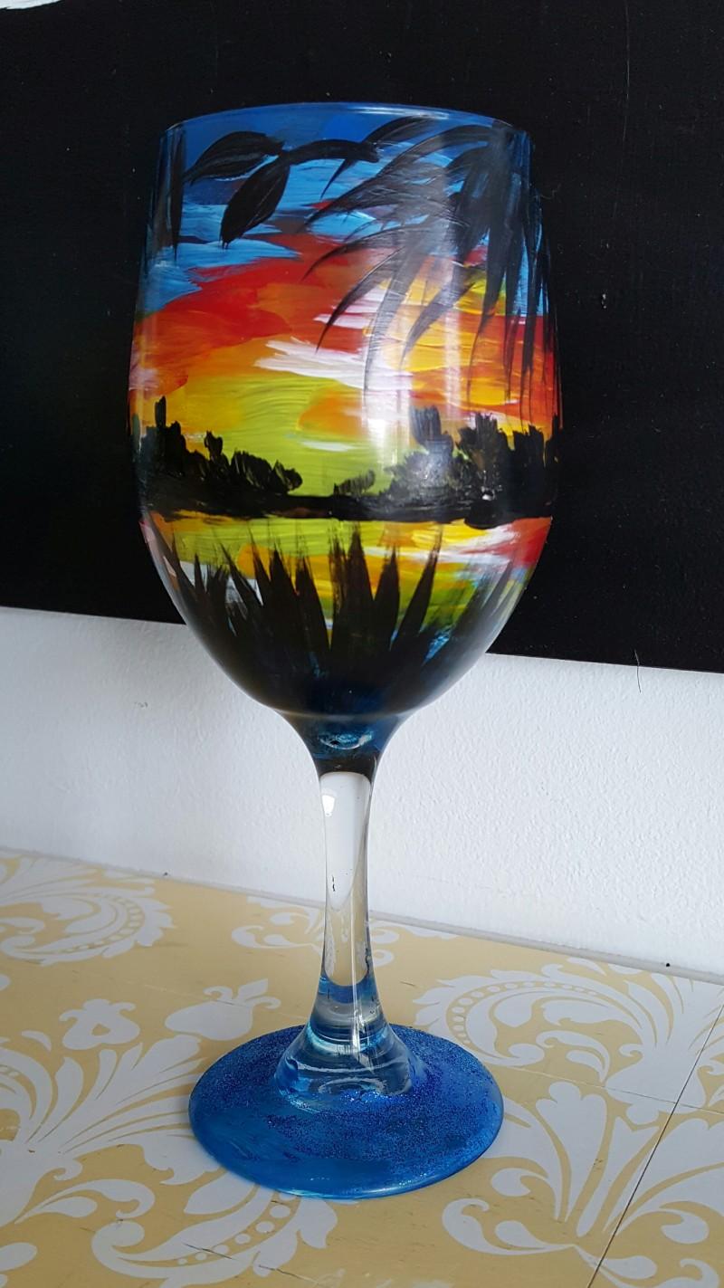 Sunset Wine Glasses - In Studio Class (2 Glasses)