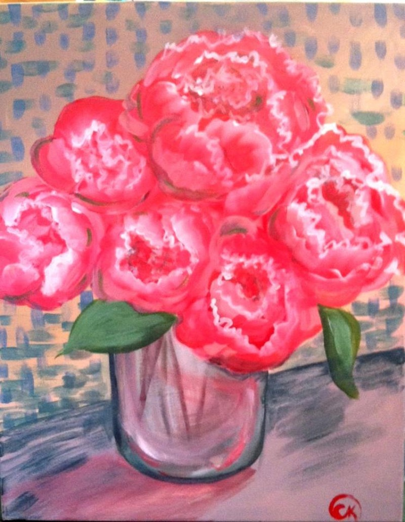 """LIVE VIRTUAL """"PINK PEONIES"""" PAINTING CLASS"""