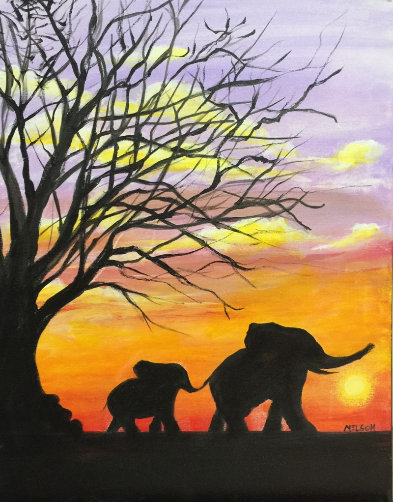 Virtual Paint pARTy Elephant Sunrise