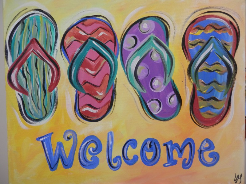 Flip Flop Welcome on Wooden Pallet