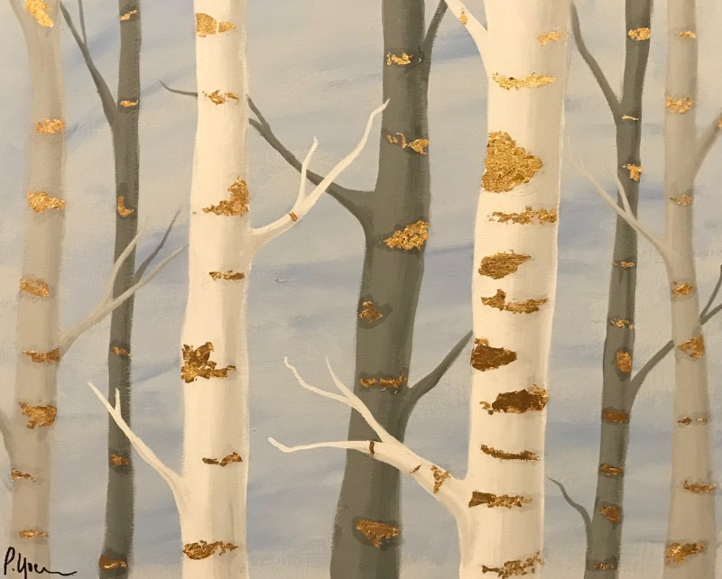 IN-STUDIO: White & Gold Forest - 16x20 Acrylic on Canvas