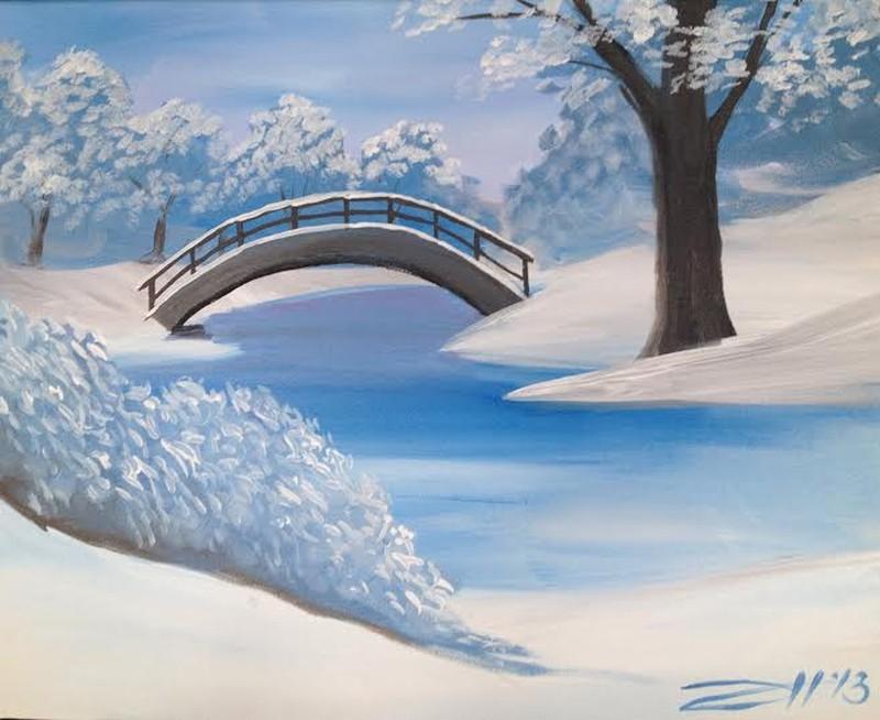 IN-STUDIO: Winter Bridge - 16x20 Acrylic on Canvas