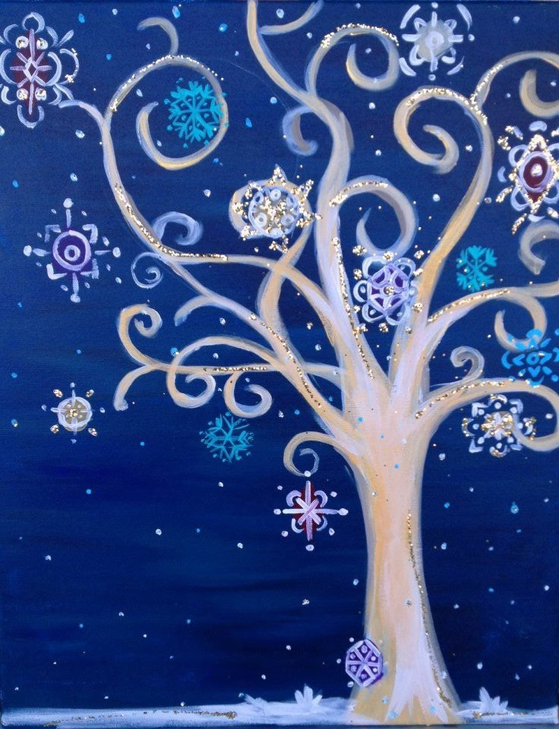 Funky Winter Tree - Virtual Class ONLY