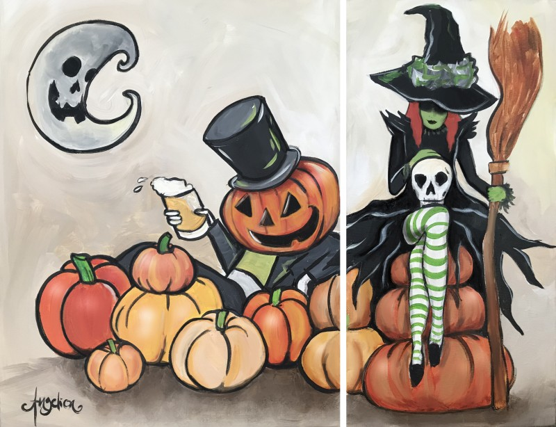 """Witchy Brew Date Night or Single Canvas! You Choose """"Pumpkin King"""" and/or """"Witch"""" 7:00-9:00pm"""