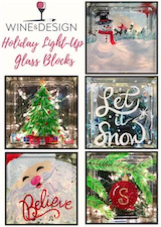 Holiday Light Up Glass Block
