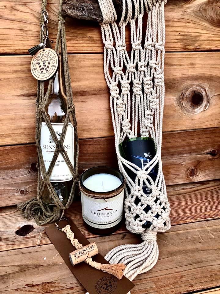 Macrame Art; Wine Bottle Tote, Plant Hanger with cut Wine Bottle Pot, Cork Keychain Sold Separately