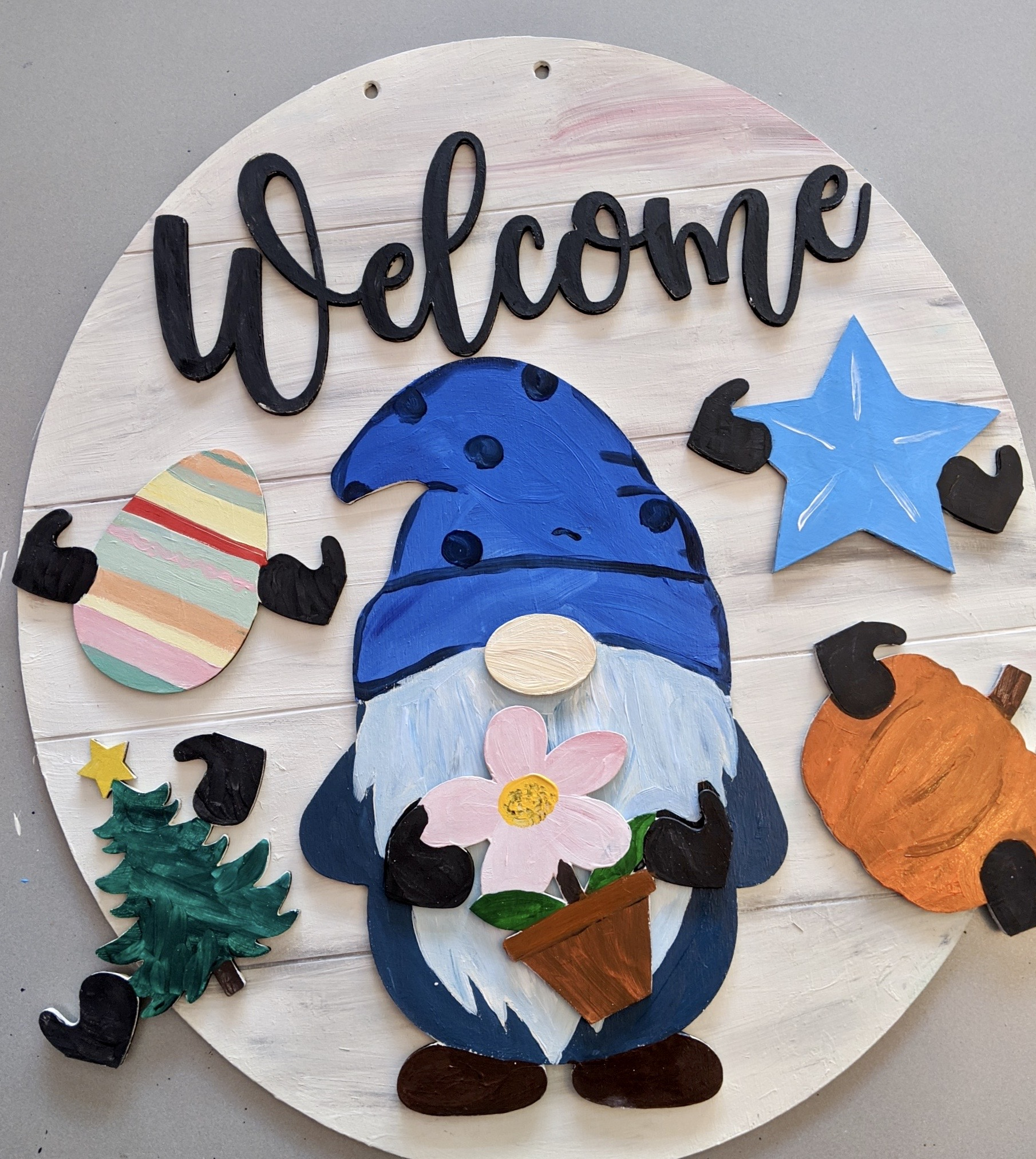 DIY Paint Kit: Welcome Gnome Wood Sign with 5 Interchangeable pieces
