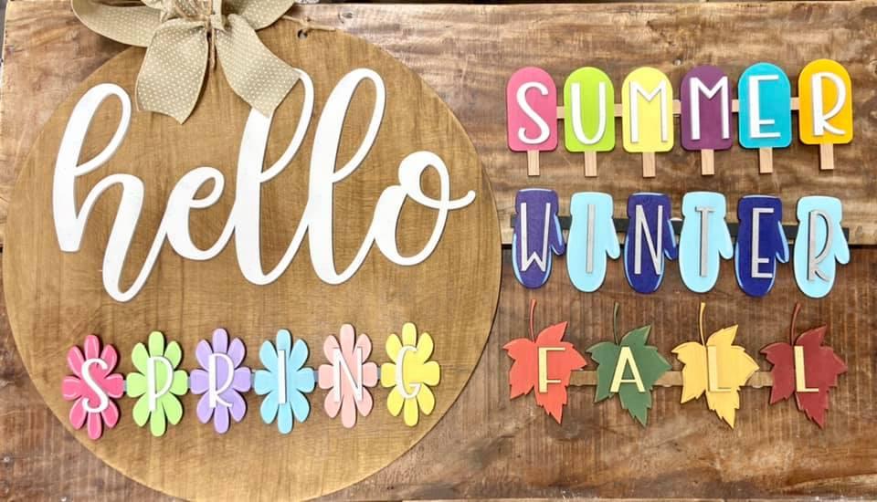 Hello Interchangeable Seasons Door Hanger