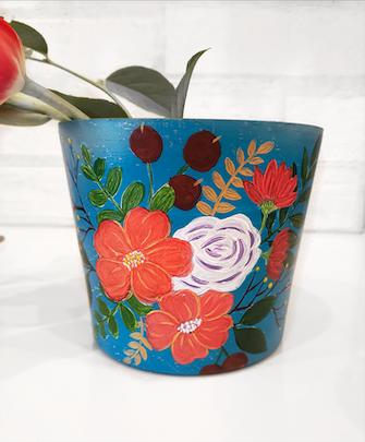 Take Home Kit DIY: Teal Terra Cotta Flower Pot