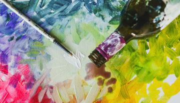 Wine & Design paint brush wine bottle